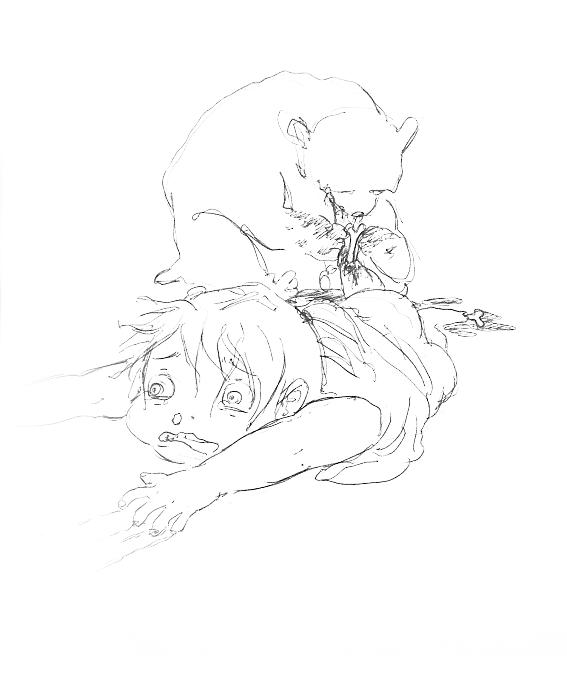 orsacchiotto mangia brutalmente una bambina disegnato a penna