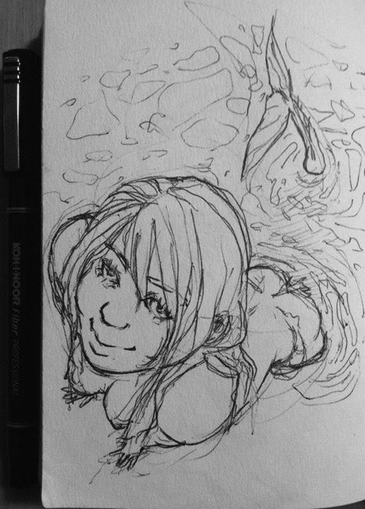sexy siren pen sketch