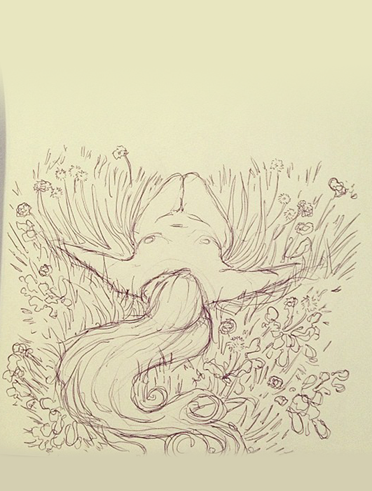 Donna in campo di fiori