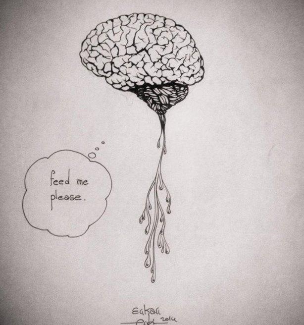 brain food illustration ink
