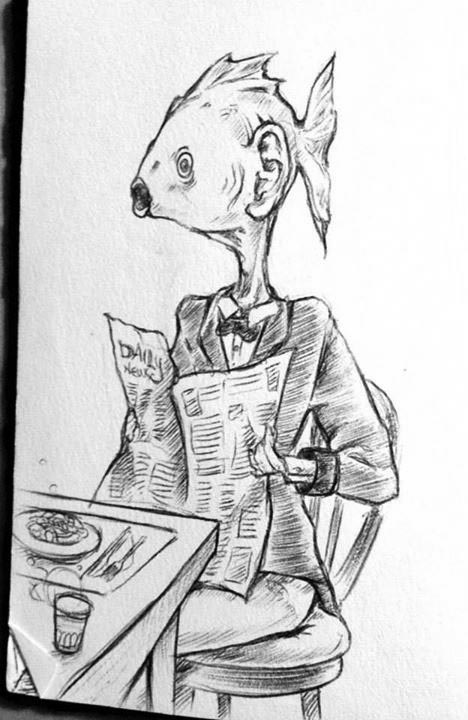 man with fish head reading a newspaper